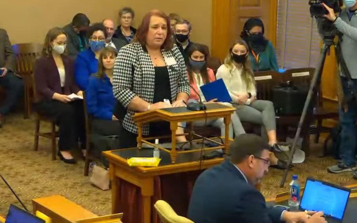 State Rep Stephanie Byers, Kansas' first transgender legislator, testifies in opposition to SB208
