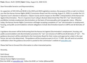 Kansas Human Rights Commission email announcing inclusive interpretation of state non-discrimination laws